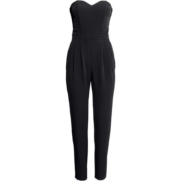 H&M Bandeau jumpsuit ($22) ❤ liked on Polyvore featuring jumpsuits, jumpsuit, dresses, h&m, black, pleated jumpsuit, bandeau jumpsuit, jump suit, strapless pleated jumpsuit and h&m jumpsuit