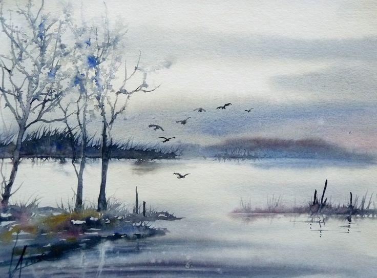 aquarelle-brumesurlac-hiver 30x40