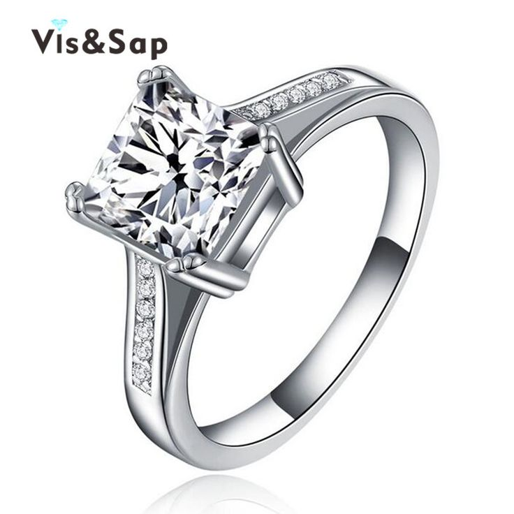 Square stone ring anillos de compromiso wedding engagement Rings For Women dazzling cz White gold plated romantic jewelry VSR079