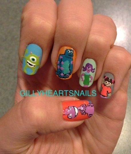 MONSTERS INC NAILS!!! I absolutely love this movie!!!