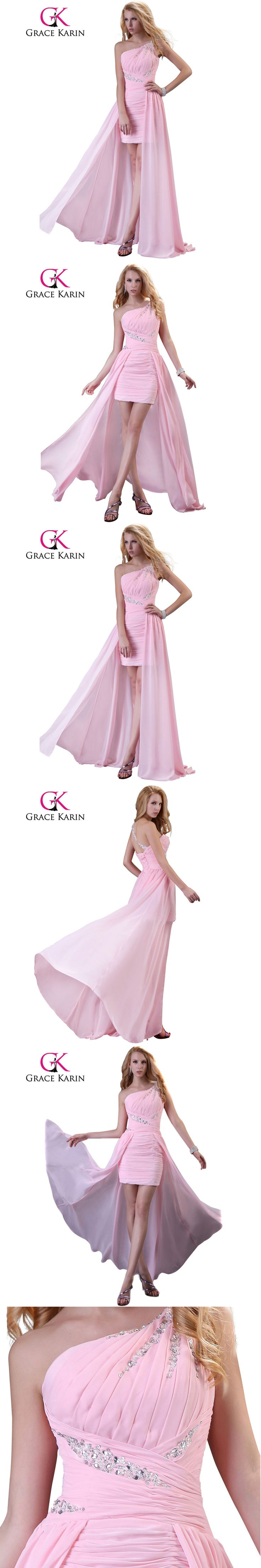 Grace Karin Elegant Cheap Prom Dress One Shoulder Pink Robes De Soiree 2017 Short Front Long Back Chiffon Long Evening Dresses