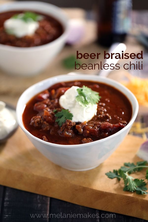 No beans required!  This rich tomato based chili is highlighted by the addition of beer that is allowed to cook down and bring a depth of flavor not found in other recipes.  This Beer Braised Beanless Chili is made with ingredients you always keep on hand which makes it perfect for dinner on a weeknight or any night.