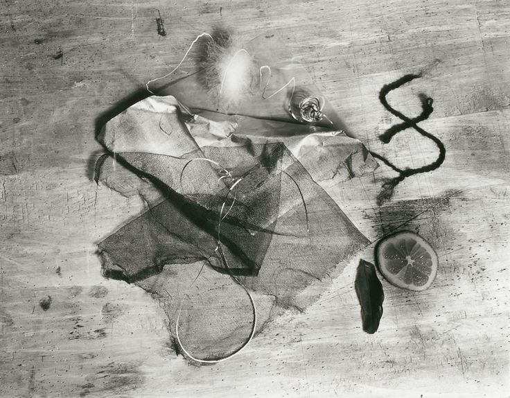 "gacougnol: "" Walter Peterhans Ophelia still life with lemon slice, tulle and feathers c. 1929 ( modern print c. 1966) """