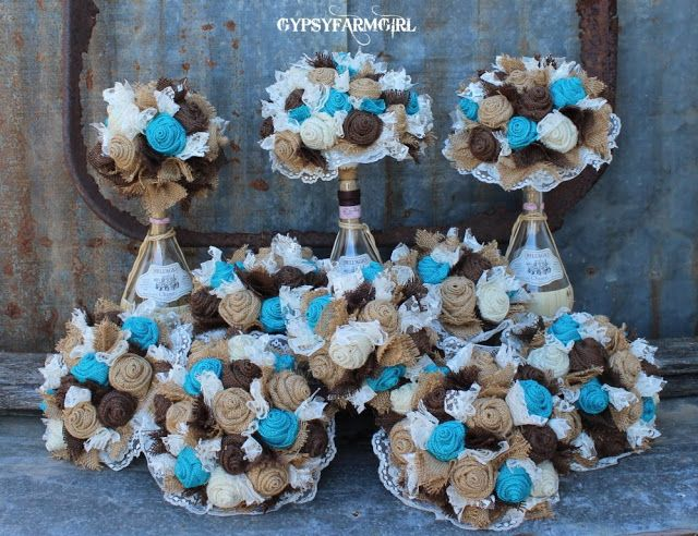 burlap+bouquet+teal+brown | Turquoise Burlap and Lace Wedding Bouquets and a New Photo Backdrop