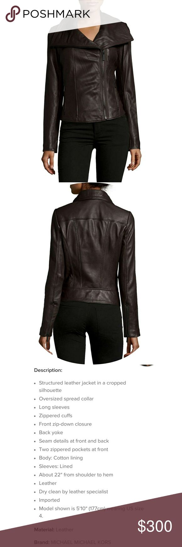 NWT Michael Kors Leather Jacket Very Dark Brown classic leather jacket. This is some of the softest, most supple leather you will find. Never used and really just a beautiful piece. Feel free to ask for more pics or details  Guaranteed authentic  Comes from a smoke free home   Accepting all offers and will discount for bundles Michael Kors Jackets & Coats