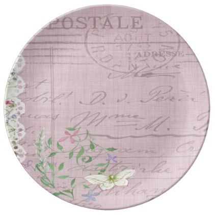 Postcard Love Letter from France in Pink Dinner Plate - floral style flower flowers stylish diy personalize