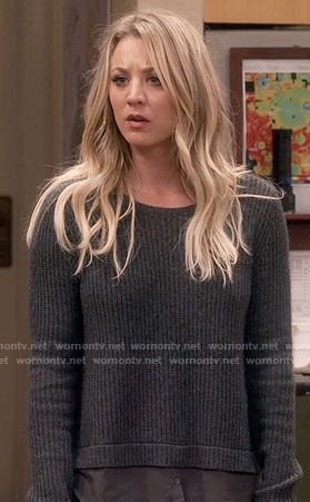 Penny's grey layered sweater on The Big Bang Theory.  Outfit Details: https://wornontv.net/61615/ #TheBigBangTheory