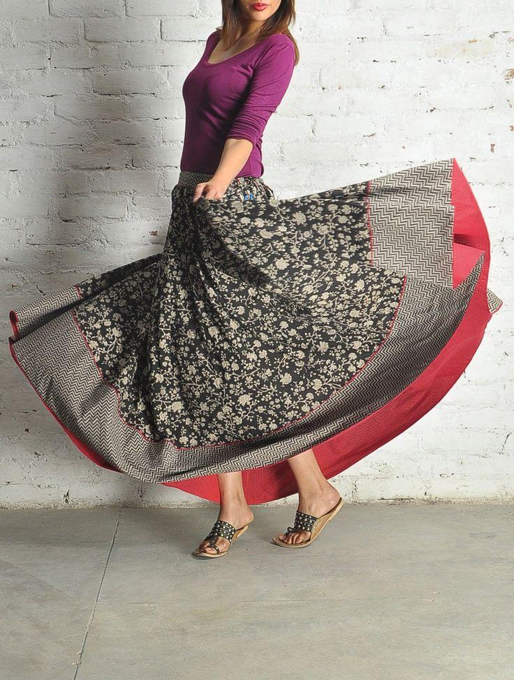 BW Block Print Kalidar Cotton Skirt - Free Size