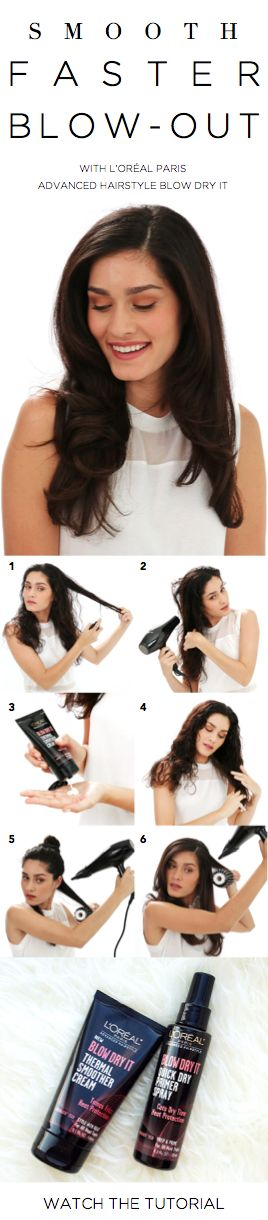 How to get the perfect fast blowout without heat damage: Separate damp hair into sections and spray on Blow Dry It Quick Dry Primer Spray. Blow-dry hair to about 80% dry. Using fingers, rake Thermal Smoother Cream through slightly damp hair. Finish drying in downward motions, then blast with cool air.