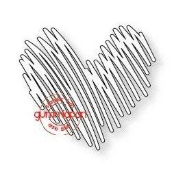 Tecknat hjärta Gummiapan die