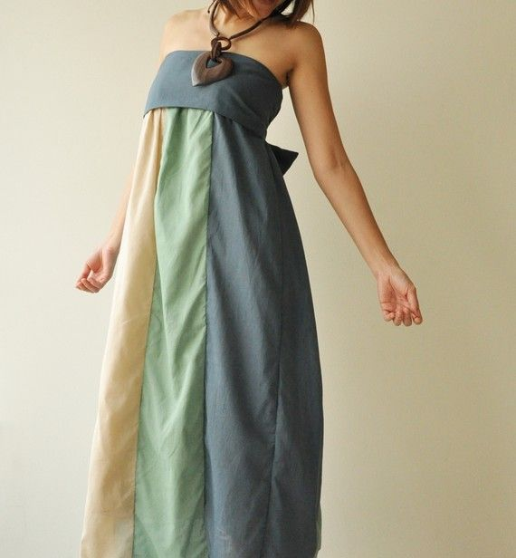 SALE 20%  The Line Part II ...Green Blue Maxi by aftershowershop