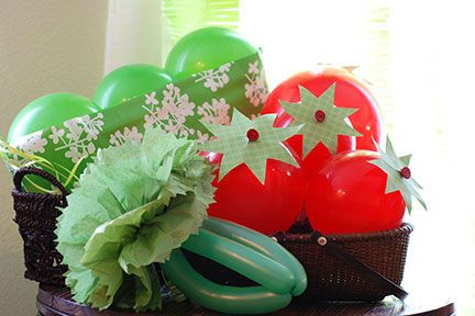 Farm Party Decoration ideas - balloon veggies!! (Free printable for making them on the website)