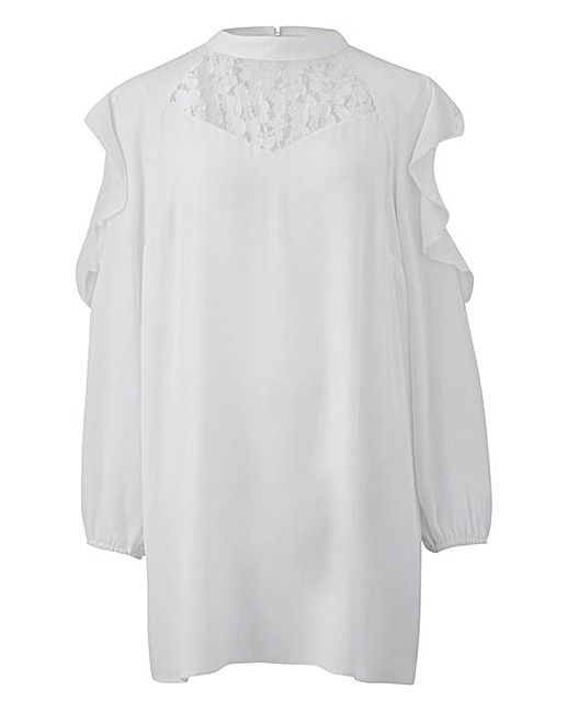 Simply Be Ivory Lace Insert Blouse | J D Williams