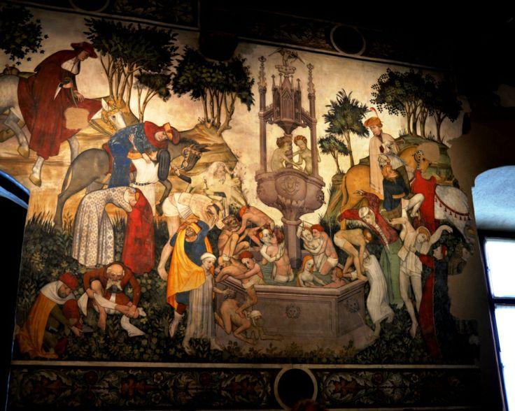"""affresco al Castello di Manta (Cn) OM  """"La fontana della giovinezza"""""""