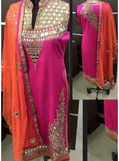Dark Pink Real Mirror Work Straight Patiala Salwar Suit