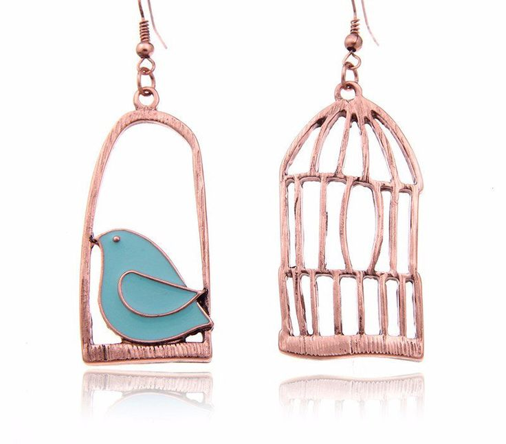 Vintage Color Design Oil Bird-Cage Lovely Drop Earrings For Women  Fashion Jewelry Peace Dove Bird Cage Dangle Earrings