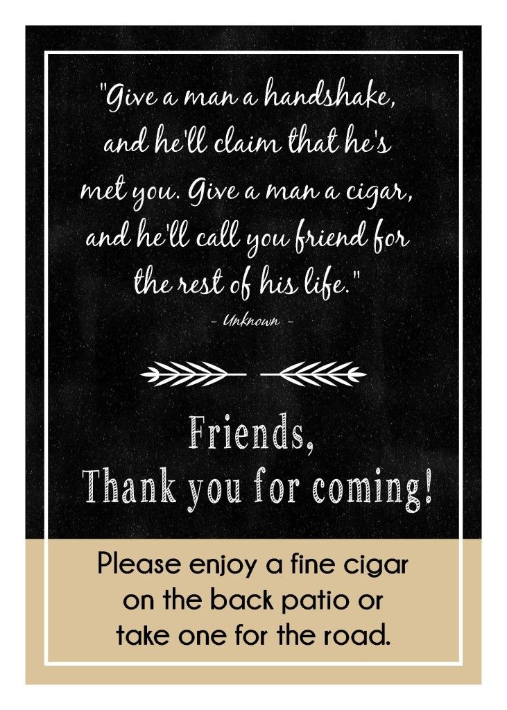 Thank you sign - Holy Smoke! Cigar themed 40th Birthday Party - GreenishPink.com