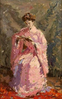 Woman in kimono reading a book by Adrien-Jean Le Mayeur de Merprès born February 9, 1880 in Brussels, Belgium died May 31, 1958 (78), Belgium lived on Bali, Indonesia