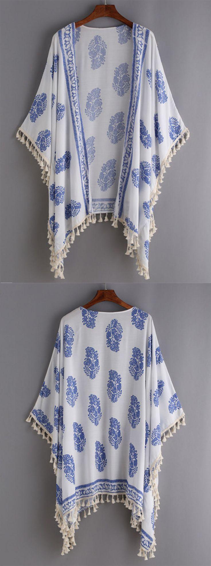 Beach Style - Tassel Trimmed Printed Kimono - romwe.com                                                                                                                                                                                 More