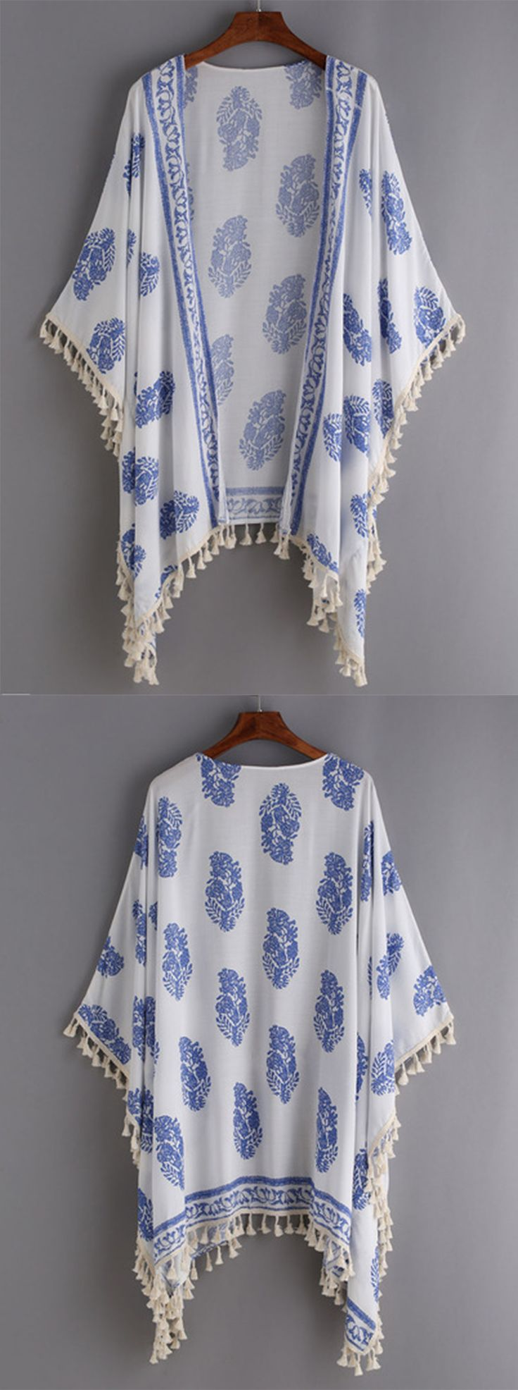 Beach Style - Tassel Trimmed Printed Kimono - romwe.com                                                                                                                                                                                 More