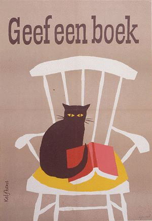 """Kees Kelfkens - """"Geef een boek"""" poster, 1958 [""""Give a book"""" - Dutch campaign for reading books]"""