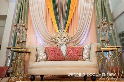stage decor , bride and groom sofa , banarsi fabric cushions