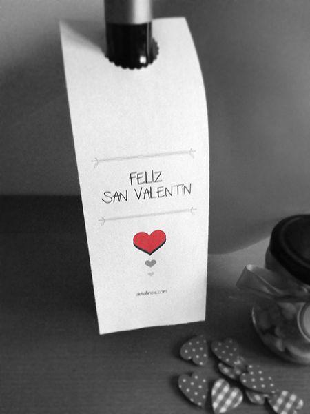 <3 Etiqueta de botella para descargar GRATIS <3    #descargables #descargar #diseño #etiquetas #gratis #imprimir #regalos #sanvalentín #botella