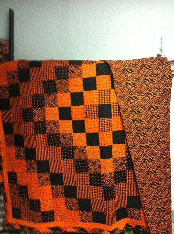 Hand pieced orange and black quilt machine by donnabyington, $325.00