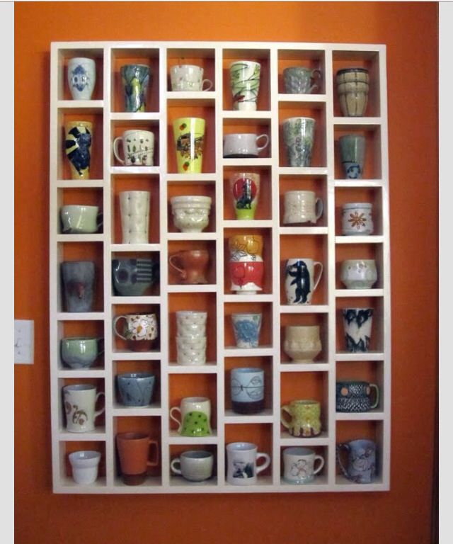 Coffee cup wall. I need one of these!