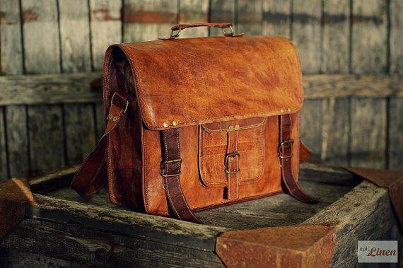 Leather Messenger Bag 15  / Air Plane Cabin Bag / by EpicLinen