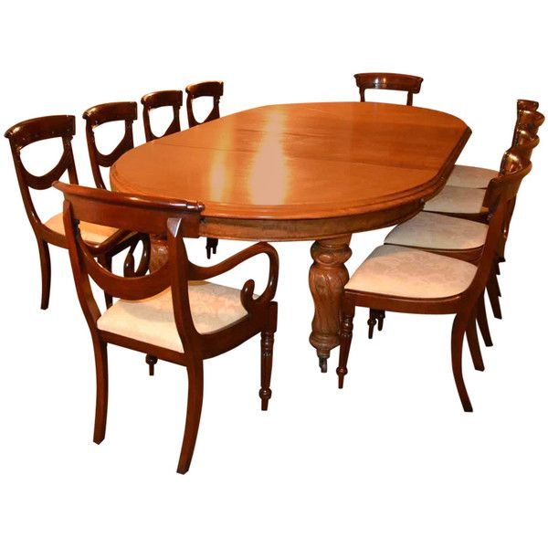 Antique Victorian Dining Table & 10 chairs circa 1860 at 1stdibs ❤ liked on Polyvore featuring home and furniture