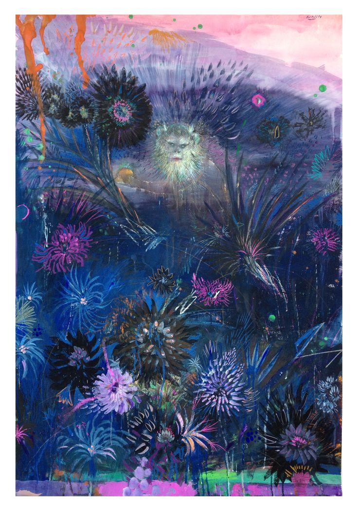 MI PRIMER AUTORRETRATO 100 x130 Cm, #monkey, #white monkey, #flowers, #nature, #forest, #pink, #violet, #full color, #sky, #rose, #contemporary, #watercolor art, #blue flower, #pintura latinoamericana, #painting, #dark, #magic