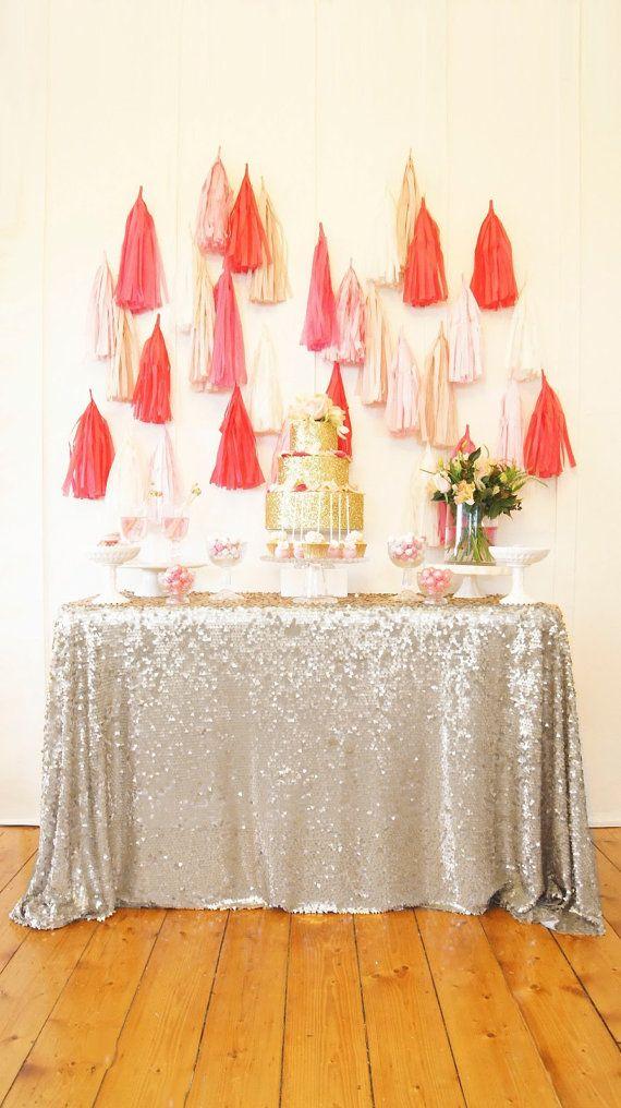 CHOISISSEZ VOTRE TAILLE ! Argent Sequin nappe et superpositions pour votre mariage et d'événements vintage ! Nappes de table personnalisé sp...