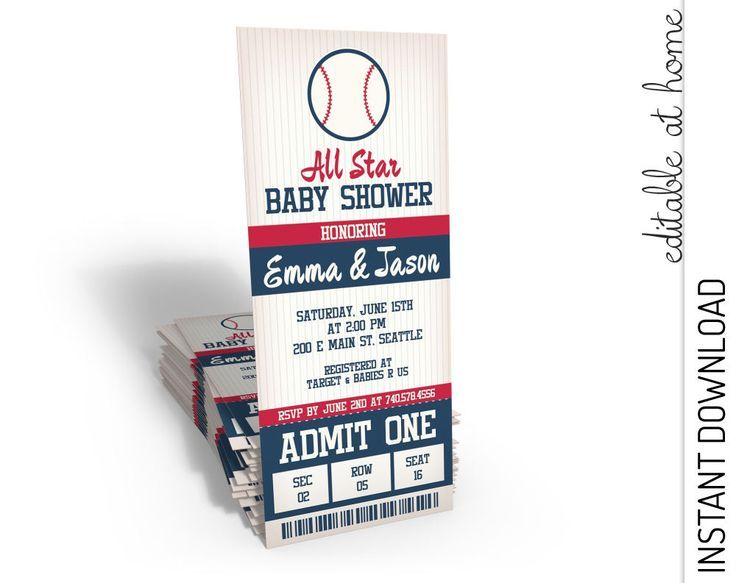 Baseball Baby Shower Invitation, Baseball Ticket Baby Shower, All Star Baby Shower Invitation, personalize INSTANT DOWNLOAD printable at home