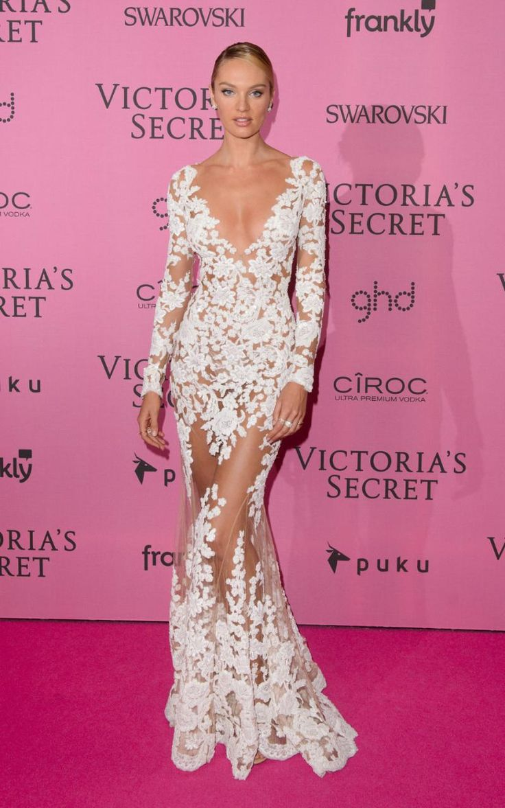 Candice Swanepoel in Lace dress at the Victoria secrets aftershow 2014
