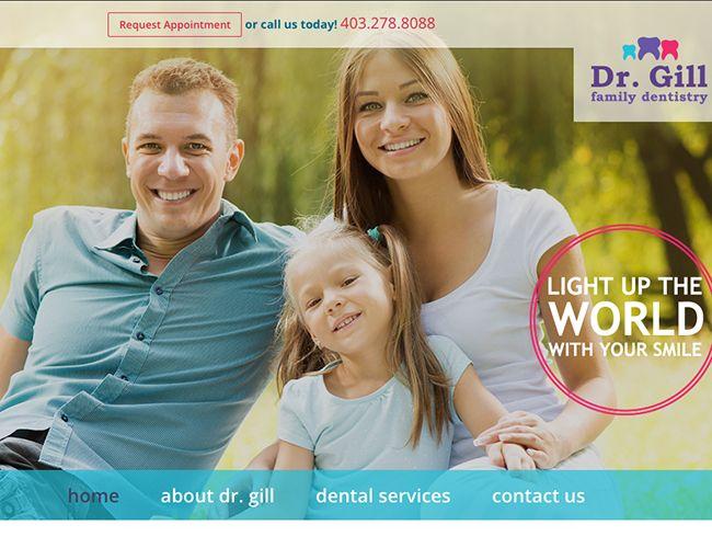 Dr Gill Family Dentistry, Calgary website design by Kreative Kekeli Design & Marketing