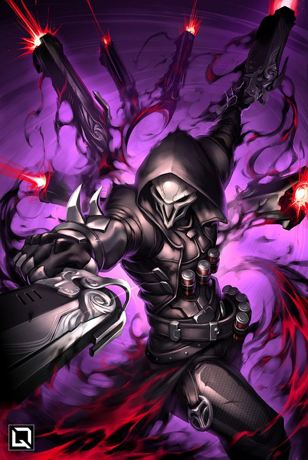This image is of the reaper character in the game overwatch, it is a fan illustration of his most powerful ability.