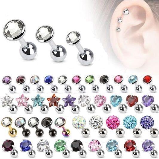 Cartilage Upper Ear Stud - Tragus Helix Bar Top Ear Ring - Flat Gem Star Earring