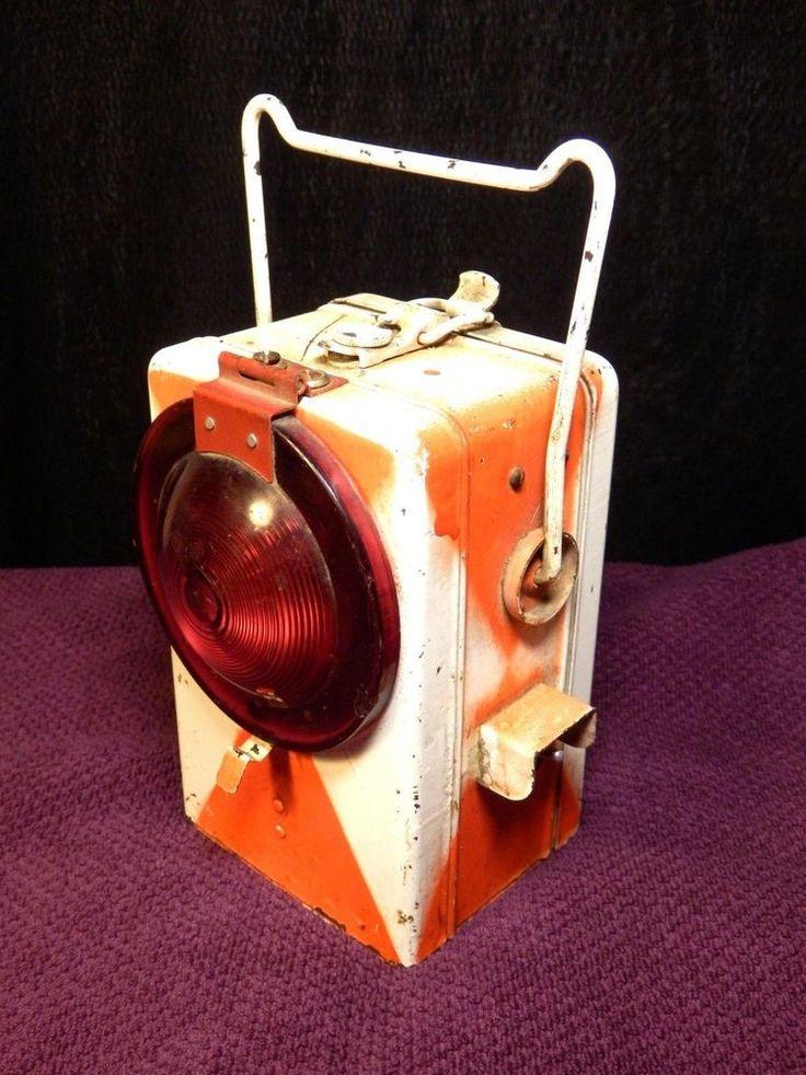 Vintage ČSD 76 Czechoslovakia Railways train electric lantern - red signal lamp