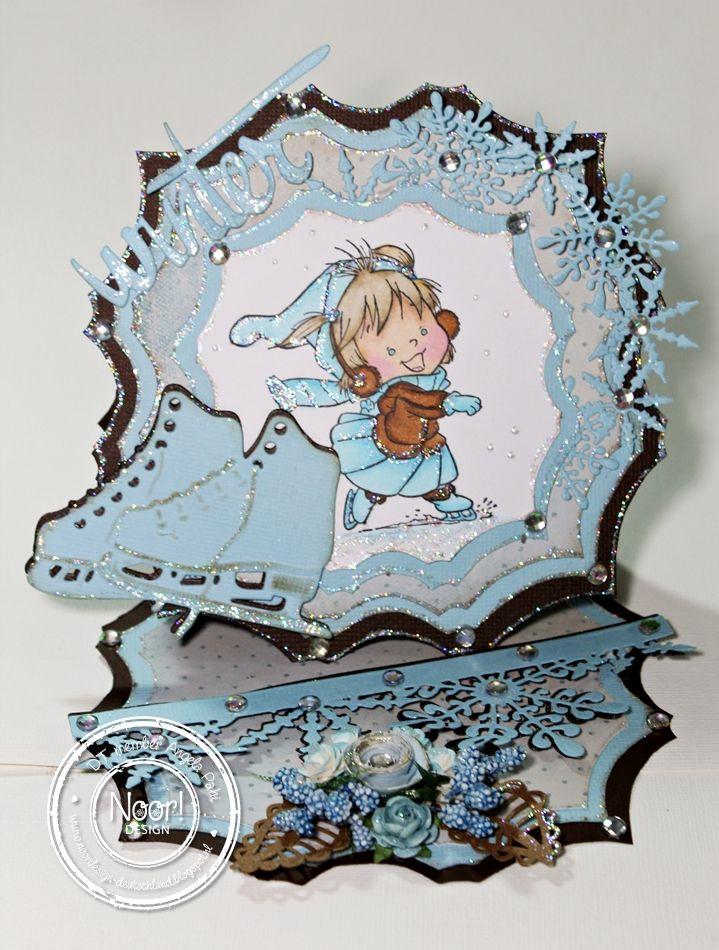 16.11.2014 Dutch Doobadoo Diamond Easel Card #dutch doobadoo diamond shape art, #winter die, #snowflake circle die, #ice crystal edge die, #skates die,