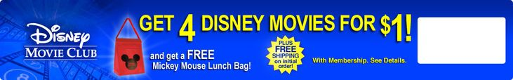 Disney Movie Club - 4 Movies for $1 + Free Mickey Mouse Lunch Bag! | Closet of Free Samples | Get FREE Samples by Mail | Free Stuff