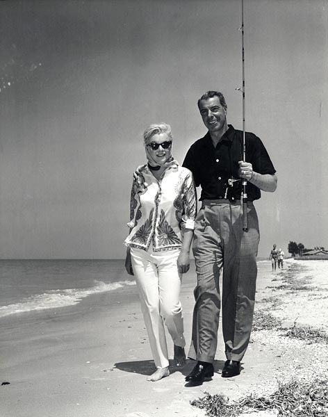 Marilyn and Joe in Florida where Marilyn was recuperating with Joe after her release from Columbian Presbyterian Hospital, March 1961.