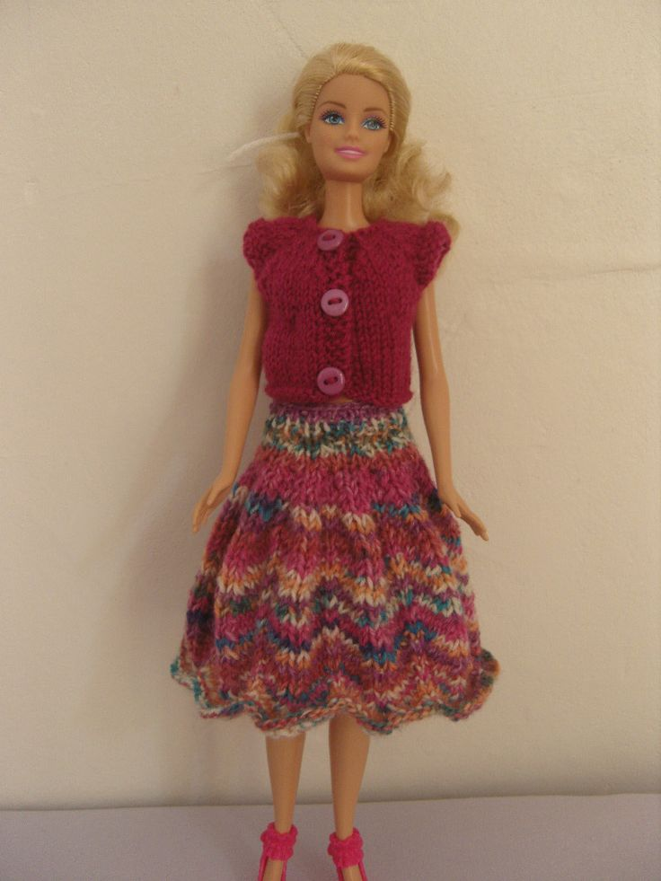 Habits de Barbie. Jupe et top pour poupée Barbie : Jeux, jouets par aux-fils-du-bocage