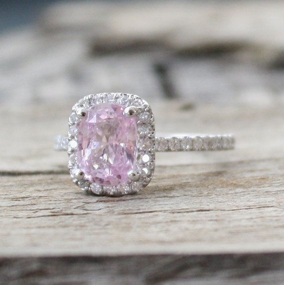 2.64 Cts. Rose Peach Champagne Sapphire & Diamond Halo Engagement Ring in 14K Gold