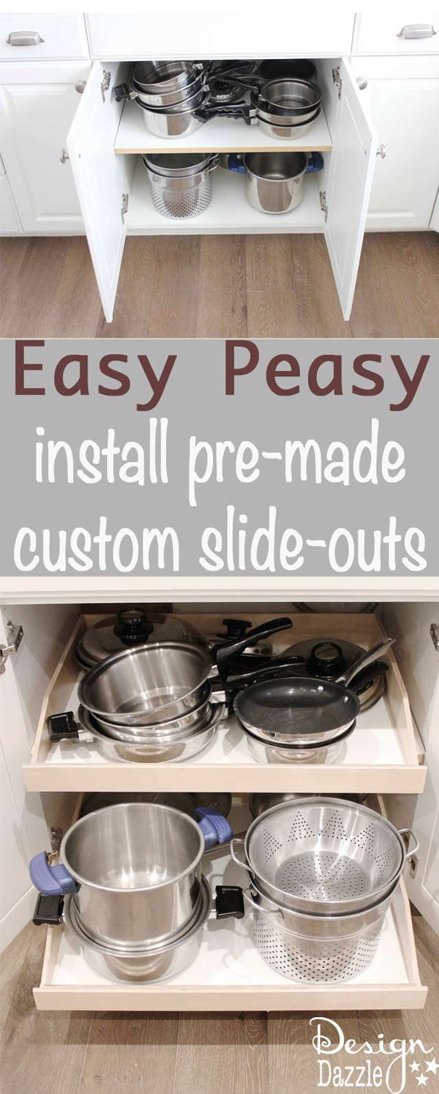 Install Pre Made Kitchen Slide Out Shelves With A Screwdriver