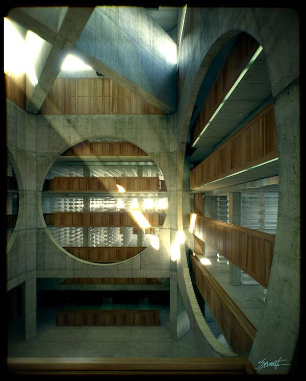 Exeter Library by Kahn  Rendered in 3D Studio Max with Photoshop and VRay by Alex Roman