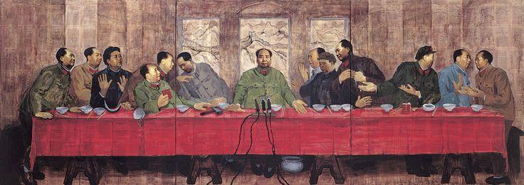 Zhang Hongtu, LAST BANQUET, 1989, Laserdruck, Seiten aus dem Parteibuch Red-Book und Acryl auf Leinwand, 152.4cm x 426.72 cm. Courtesy der Künstler.