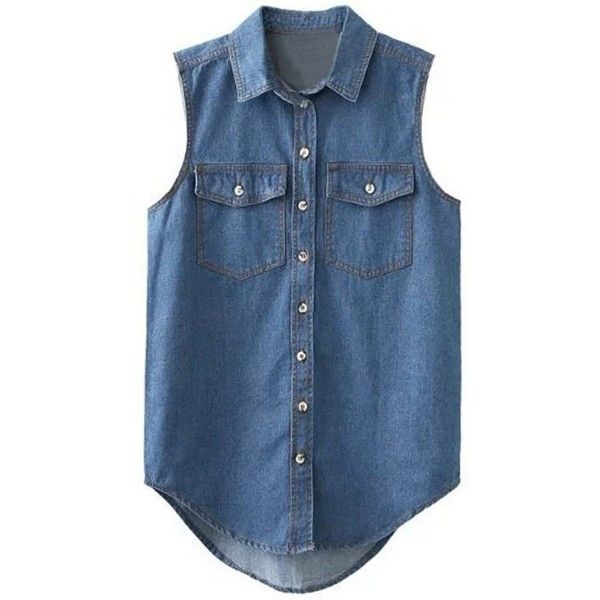 Fashionable Women's Pocket Design Sleeveless Denim Shirt ❤ liked on Polyvore featuring tops, blue top, sleeveless denim top, sleeve less shirts, sleeveless shirts and denim top