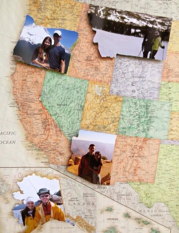 Take a photo in each state you're in, and replace the state on the map with that photo. Love this!