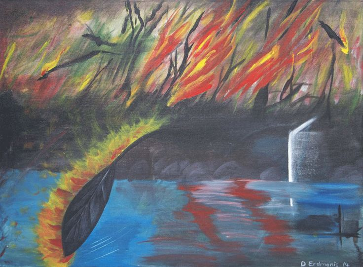 Inferno at the Lake - Original painting in mixed media: acrylic and charcoal on stretched canvas